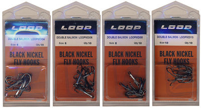 Loop 60185 Крючки двойные лососевые Double Salmon Hook Black Nickel (фото, вид 1)