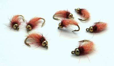 Mikkus & Caddis 14217 Мушка нимфа ручейника BH Fluffy Caddis Larva Orange (фото, вид 1)