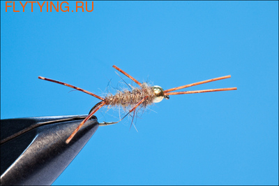 Rusangler 14157 Мушка нимфа Bead Head Hare's Ear Rubber Leg
