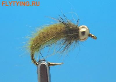 Mikkus & Caddis 14232 Мушка нимфа личинка ручейника BH Fluffy Caddis Larva Golden Olive (фото)