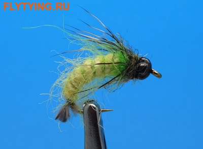 14095 Мушка нимфа Caddis Larva Insect Green