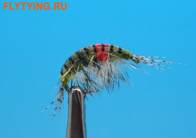14518 Мушка нимфа имитация бокоплава Freshwater Scud Olive Hot Spot Striped