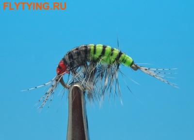 14519 Мушка нимфа имитация бокоплава Freshwater Scud Grey Chartreuse Striped