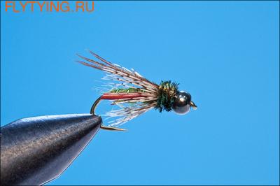 14112 Мушка нимфа Bead Head Black Caddis Pupa Green