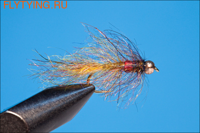 14115 Мушка нимфа Bead Head John Rohmers Bead Belly Leech Canadian Orange Brown