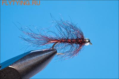 14117 Мушка нимфа Bead Head Simi Leech Black Red