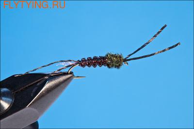 14155 Мушка нимфа Woven Tube Bug - Black/Orange