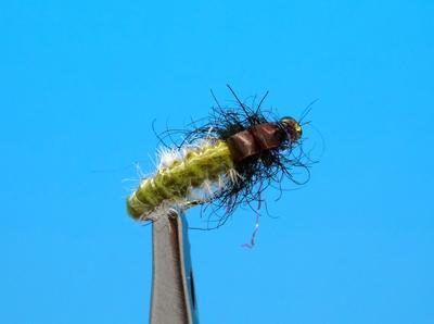 Artflies 14392 Мушка нимфа ручейника Vinyl Back Caddis Larva Olive (фото, вид 1)