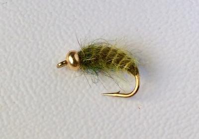 Mikkus & Caddis 14233 Мушка нимфа личинка ручейника BH Fluffy Caddis Larva Dark Olive (фото, вид 1)