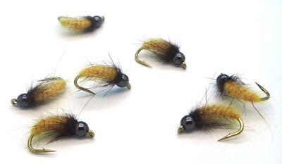 Mikkus & Caddis 14228 Мушка нимфа куколка ручейника BH Fluffy Caddis Larva Dirty Yellowish (фото, вид 3)
