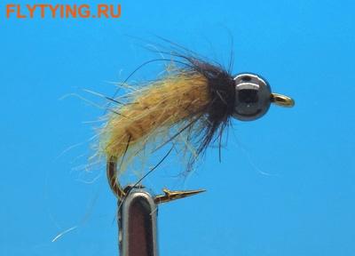 Mikkus & Caddis 14228 Мушка нимфа куколка ручейника BH Fluffy Caddis Larva Dirty Yellowish