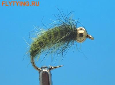 Mikkus & Caddis 14233 Мушка нимфа личинка ручейника BH Fluffy Caddis Larva Dark Olive (фото)