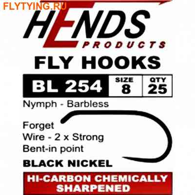 Hends Products 60227 Крючок одинарный HP Wet Fly, Nymphs Barbless Black Nickel BL254 BN (фото)