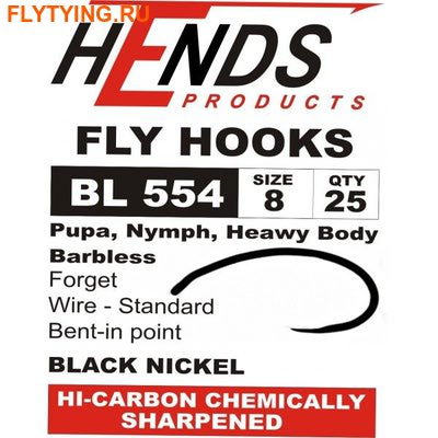 Hends Products 60229 Крючок одинарный HP Pupa, Shrimp, Nymph Barbless Black Nickel BL554 BN (фото)