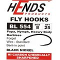 Hends Products 60229 Крючок одинарный HP Pupa, Shrimp, Nymph Barbless Black Nickel BL554 BN